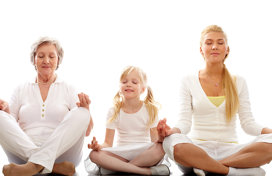 three ladies meditating